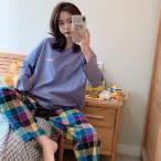パジャマ レディース ルームウェア 春秋夏 セットアップ ゆったり 綿 長袖 女性 上下セット チェック柄 可愛い ロングパンツ 韓国風 寝巻き 部屋着