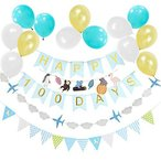Easy Joy お食い初め 100日お祝い飾り付けセット ブルー ホームパーティー 受付飾り 装飾 写真背景 ウオールデコレーション