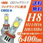 ショッピングLED LEDフォグランプ ヘッドライト 6400Lm H8/H10/H11/H16/HB3/HB4 6500K CREE 送料無料