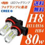 LEDフォグランプ H8/H11/H16/HB4 LED CREE 80W  白/ホワイト 送料無料