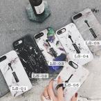 人気 韓国風 iPhone8plus/7 plus iPhone8/7 iPhoneX用大理石柄MarblingTPU保護カバー/マーブルストーン 個性 隠れるリングソフトケース/スタンド機能