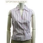 SPORTMAX シャツ・ブラウス イタリアサイズ-38/9号 ノースリーブ ピンク スリーブレス Vネック デザインカッター レディース トップス