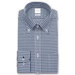 ワイシャツ Yシャツ メンズ 長袖   SMC   Shiwanon 形態安定加工 ネイビーのギンガムチェック ボタンダウンシャツ おしゃれ