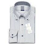 ワイシャツ Yシャツ メンズ 長袖 | LORDSON | 綿100% 形態安定加工 標準体 長袖 ダブルストライプ ボタンダウン ドレスシャツ メンズワイシャツ おしゃれ