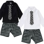 ベビー服 赤ちゃん 服 ベビー フォーマルスーツ 男の子 80 90 男の子チェックネクタイスーツ
