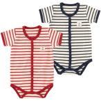 ベビー服 赤ちゃん 服 ベビー ロンパース 男の子 女の子 60 70 80 マリンボーダー半袖前開きロンパース