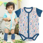 ベビー服 赤ちゃん 服 ベビー ロンパース 男の子 60 70 80 90 ポップロゴ半袖前開きロンパース
