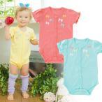 ベビー服 赤ちゃん 服 ベビー ロンパース 女の子 60 70 80 90  リボンいっぱい半袖前開きロンパース