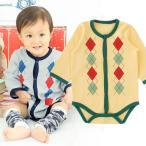 ベビー服 赤ちゃん 服 ベビー ロンパース 男の子 60 70 80 保育園  アーガイル前開き長袖ロンパース