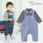 *ボンシュシュ* サロペット風長袖前開きカバーオール ベビー服 赤ちゃん 服 男の子 男児