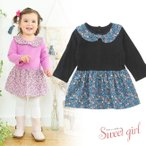 ベビー服 赤ちゃん 服 ベビー ワンピース 女の子 80 90 95    *スウィートガール*小花柄長袖ワンピース