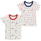 クルマ柄半袖インナーシャツ 赤ちゃん 服 ベビー服 子供 下着 インナー 車柄 保育園 男の子 男児 肌着 チャックルベビー