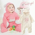 ベビー服 赤ちゃん 服 ベビー カバーオール 女の子 50 60 70   *スウィートガール*うさみみフード付きキルトバギーオール