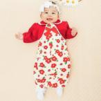 ベビー服 赤ちゃん 服 ベビー ツーウェイオール 女の子 新生児 *ティノティノ* 見せかけボレロツバキ柄