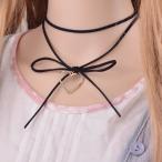 短項鍊 - 革紐 チョーカー ネックレス リボン 蝶結び オープンハート ゴスロリ ハート ゆめかわいい ふんわり