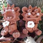 花シーサー赤 工房花の笑顔が可愛い手作りシーサー 沖縄シーサー