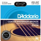 Daddario コーティング アコーステックギター弦 EXP38 12弦