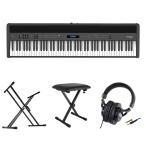 ROLAND FP-60X-BK Digital Piano ブラック デジタルピアノ キーボードスタンド キーボードベンチ ヘッドホン 4点セット [鍵盤 Cset]