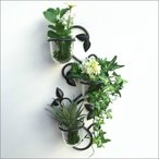 アイアン 壁掛け ガラスカップ 3カップ 壁掛けフラワーベース   アンティーク 壁飾り ウォールデコレーション お洒落 花瓶 花びん