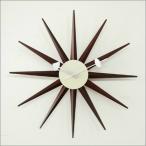 ジョージ・ネルソン サンバーストクロック ブラウン 掛け時計 ミッドセンチュリー 時計 お洒落 木製 アンティーク ヴィンテージ ジョージネルソン 北欧