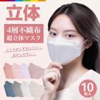 マスク 不織布 立体 KF94と同形状 10枚 4層構造 男女兼用 大人用 3D立体加工 高密度フィルター韓国マスク 防塵 ほこり 黄砂 花粉症 ウイルス PM2.5