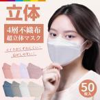 マスク 不織布 立体 KF94と同形状 50枚 4層構造 男女兼用 大人用 3D立体加工 高密度フィルター韓国マスク 防塵 ほこり 黄砂 花粉症 ウイルス PM2.5