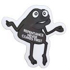コトワザステッカー 後悔先に立たず REPENTANCE NEVER COMES FIRST 防水加工