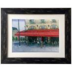 ショッピング雑貨 インテリア アート Kazu Ishikawa パリのカフェ サンミッシェル Oil Painting ART 美工社 46.2×37cm 壁掛け 額付き 油絵 通販