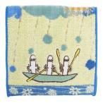 ムーミン グッズ ミニタオル ポケット付きタオル 海の上のニョロニョロ  北欧 丸眞 12.5×12.5cm ハンカチ キャラクター