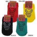 HAVE A HAPPY DAY 赤ちゃん靴下 ベビーアンクルソックス イエロー レッド グリーン ブラック BABY グッズ オクタニコーポレーション 10〜13cm かわいい