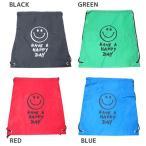 グッズ ナップサック バラエティ 巾着袋 SMILE GREEN BLACK BLUE RED オクタニコーポレーション 約42×34cm ポリエステルバッグ 通販