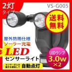 ベルソス(VERSOS) 2灯LEDソーラーセンサーライト VS-G005 センサー感知自動点灯 (送料無料)