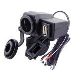 バイク 汎用 2.1A USB電源 電源 防水 カバー ヒューズ 付き スマホ タブレット 充電 12V シガーソケット ブラック