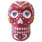 かわいい オブジェ 置物 ハロウィン を 盛り上げよう! ディスプレイ 装飾 オーナメント ジオラマ (派手 ドクロ ピンク)