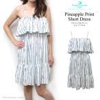 ハワイ 白 ショート ワンピ リゾート おしゃれ Angels by the Sea Hawaii パイナップルプリント  ショートドレス ラッフル ホワイト/ネイビー