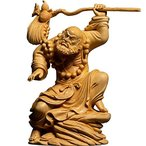 達磨大師立像「武」 高級天然ツゲ木彫り達磨像 木製仏像 神像 仏教美術品 だるま 菩提達磨 達磨祖師 中国禅宗開祖 坐禅 少林寺