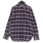 美品 INDIVIDUALIZED SHIRTS インディビジュアライズドシャツ 長袖シャツ チェック SLIM FIT スリムフィット 柄 紫 34 メンズ  中古 92001295