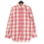 未使用 INDIVIDUALIZED SHIRTS インディビジュアライズドシャツ 長袖ボタンダウンシャツ チェック SLIM FIT スリム 赤 33 メンズ  中古 92001297