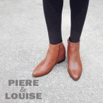 Pierre&Louise インヒールレザーショートブーツ 本革 39 24.5cm レディース 茶 ブラウン ブーティー おしゃれ ヒール シークレット