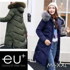 ボリュームフードで小顔効果ファーフード付き中綿ロングコート アウター 中綿コート 軽い ロング 暖かい レディース ミリタリー モッズコート