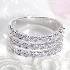 ショッピングPT ダイヤモンドリング プラチナ950 H&Cダイヤモンド 3連リング