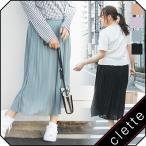 大きいサイズ レディース cletteオリジナル★ジョーゼットプリーツスカート