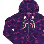A BATHING APE (エイプ)  COLOR CAMO EMBROIDERY SHARK FULL ZIP HOODIE (パーカー)  PURPLE 1C80-115-006 212-000979-049-【新品】(SWT/HOODY)