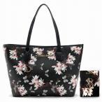 ヴィクトリアシークレット バッグ パスポートケース ビクトリア VICTORIA'S SECRET トートバッグ ハンドバッグ ブラック 花柄プリント セット