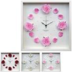 ショッピング壁掛け 掛け時計 壁掛け ローズ クロック 花時計 インテリア ロマンチック 姫家具 姫系 白 フラワー アナログ 壁掛け時計 おしゃれ