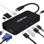 送料無料 USB C ハブ usb 変換アダプター HDMIとVGA同時表示 type c hub  USB C ハブ SD&Micro SDカードリーダー 4kHDMI LANポ