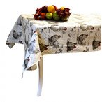 Kithen&Dining French Tablecloth - Rooster and Hen - Beige- 100% Coated Cotton - Made in France 正規輸入品