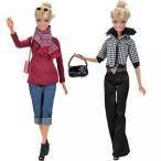 バービー人形の E-ティン 2 セット ファッション人形服カジュアル コート トップス ブラウス パンツ ズボン赤いドレスのハンドバッグ靴 正規輸入品