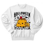 かぼちゃプリンねこのハロウィンパーティー トレーナー(ホワイト)