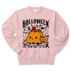 かぼちゃプリンねこのハロウィンパーティー トレーナー(ライトピンク)